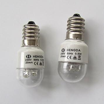 KUNPENG - # LED-E14 220V 2piezas Bombillas LED para la máquina de coser doméstica 0.5W 220 voltios Tipo de tornillo: Amazon.es: Hogar