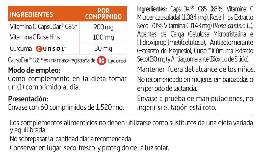 Vitamina C 1000 mg.+ Cúrcuma Nature Essential Plus - Con Vitamina C microencapsulada, Vitamina C de extracto seco de Rose Hips (Rosa canina) y cúrcuma - 60 ...