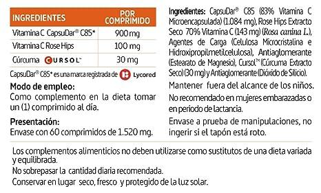 Vitamina C, cúrcuma 1000 mg 60 comprimidos: Amazon.es: Salud y cuidado personal