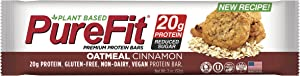 PureFit Premium Nutrition Protein Bars, 15 Count | 18G Protein, Plant Based Performance Enhancement & Energy Bar - Gluten Free, Dairy Free, Vegan - Oatmeal Cinnamon