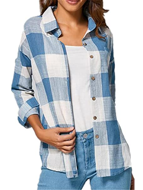 BESTHOO Camisas Mujer a Cuadros Top Blusa de Moda de Manga Larga Casual Patchwork Camisetas Con