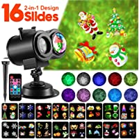 2-in-1 Christmas LED Projector Light with 16 Slides 10 Wave Colors