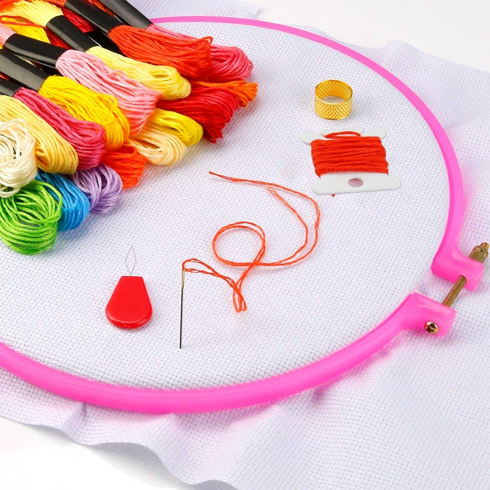 Pllieay 100 Madejas Bordado Hilos de Aleatorio Colores Algod/ón Bordado Kit con 12 Tablero Blanco de la Bobina para Costura Punto de Cruz