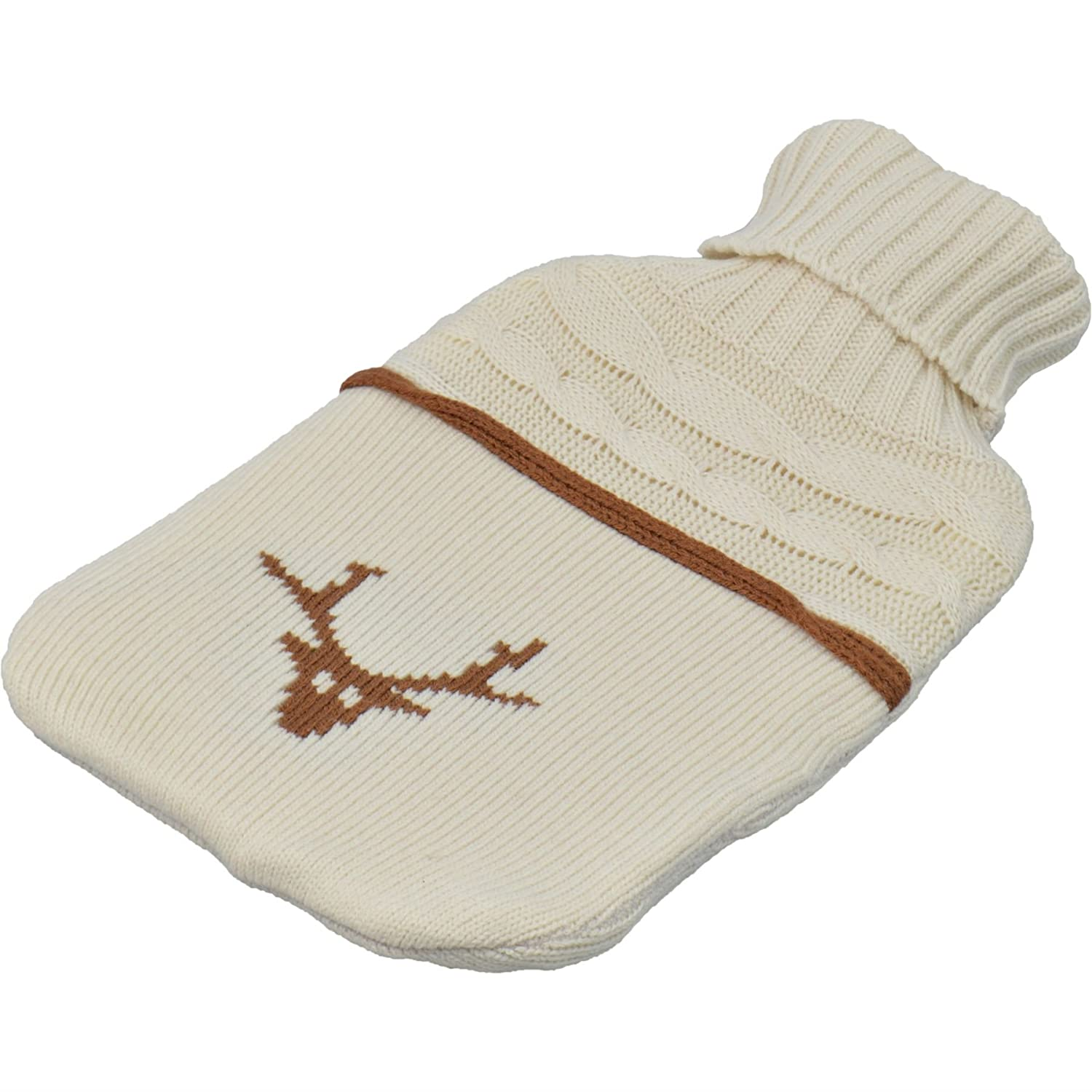 Harbour Housewares Full Size Hot Water Bottle With Knitted Cover - Cream Stag / Reindeer