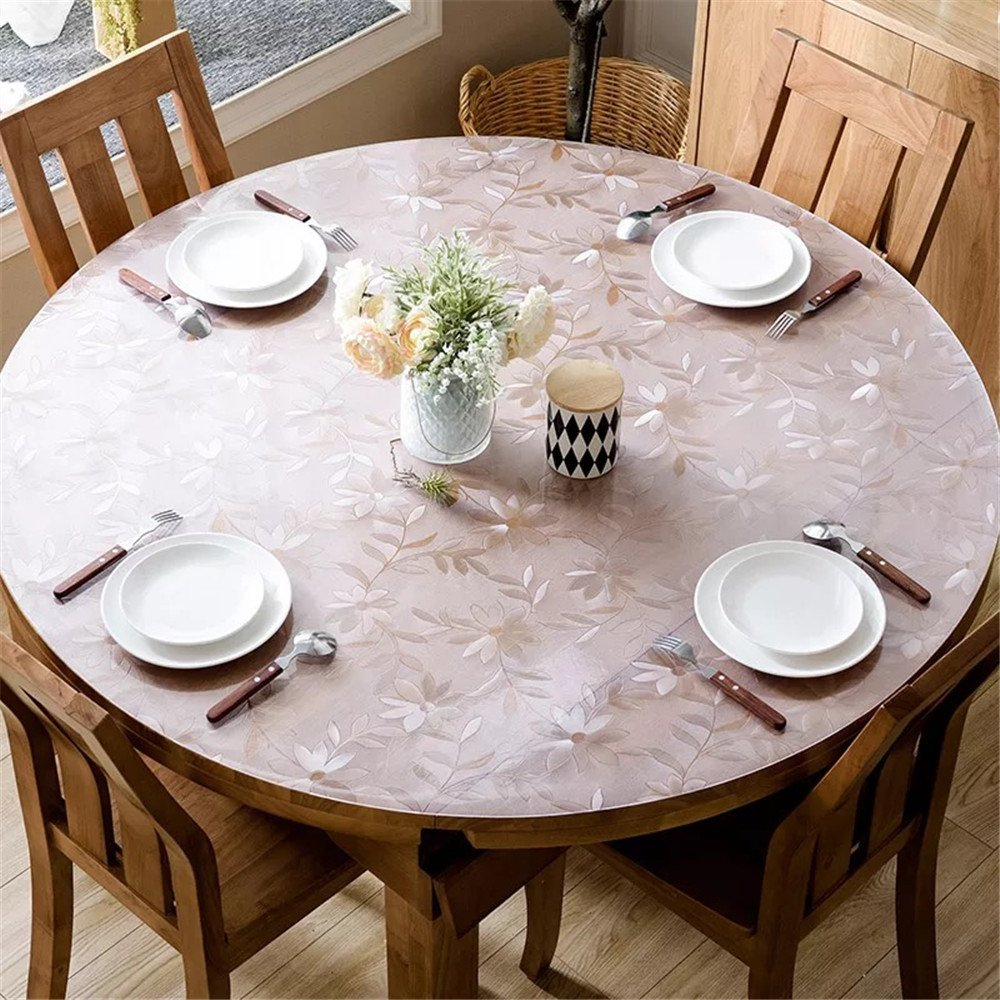 LovePads 1.5mm Thick 48'' Round Table Protector for Dining Room Table, Non-Slip Plastic Tablecloth Cover, Vinyl Circle Protective Pad, Cosmos by LovePads