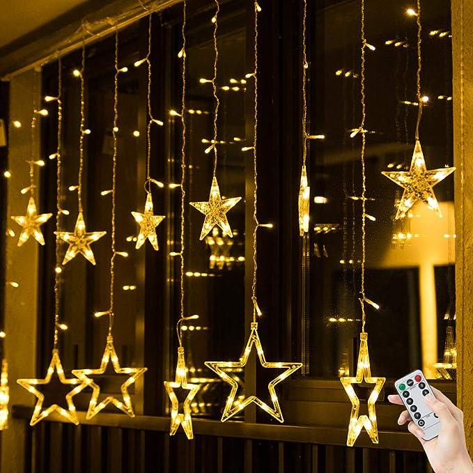 c9f0a4017aa BLOOMWIN Guirnaldas Luminosas Estrellas Cortina Luces 220V 2m x 1m 138 LED  12 Estrellas con Control