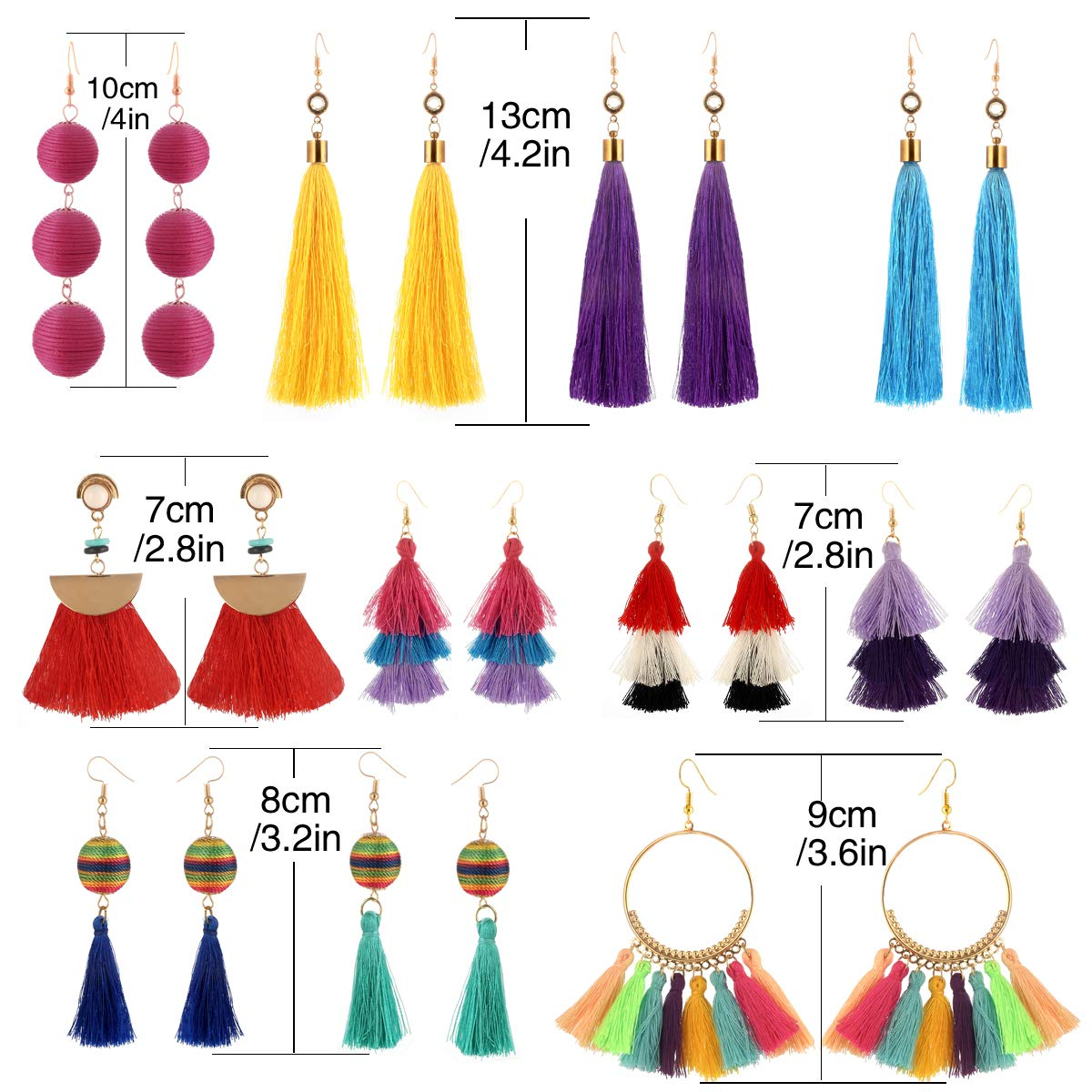 9-18 Pairs Colorful Long Fringe Earrings for Women-Lightweight Big Earrings for Women-Statement Earrings for Women and Girls
