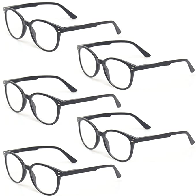 06a5d8316c7 Kerecsen 5 Pairs Retro Round Frame Reading Glasses Spring Hinge Large  Readers (5 Pack Black