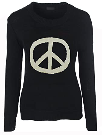 179732815 Knitted Jumper Peace Black 10 12 (2.99)  Amazon.co.uk  Clothing