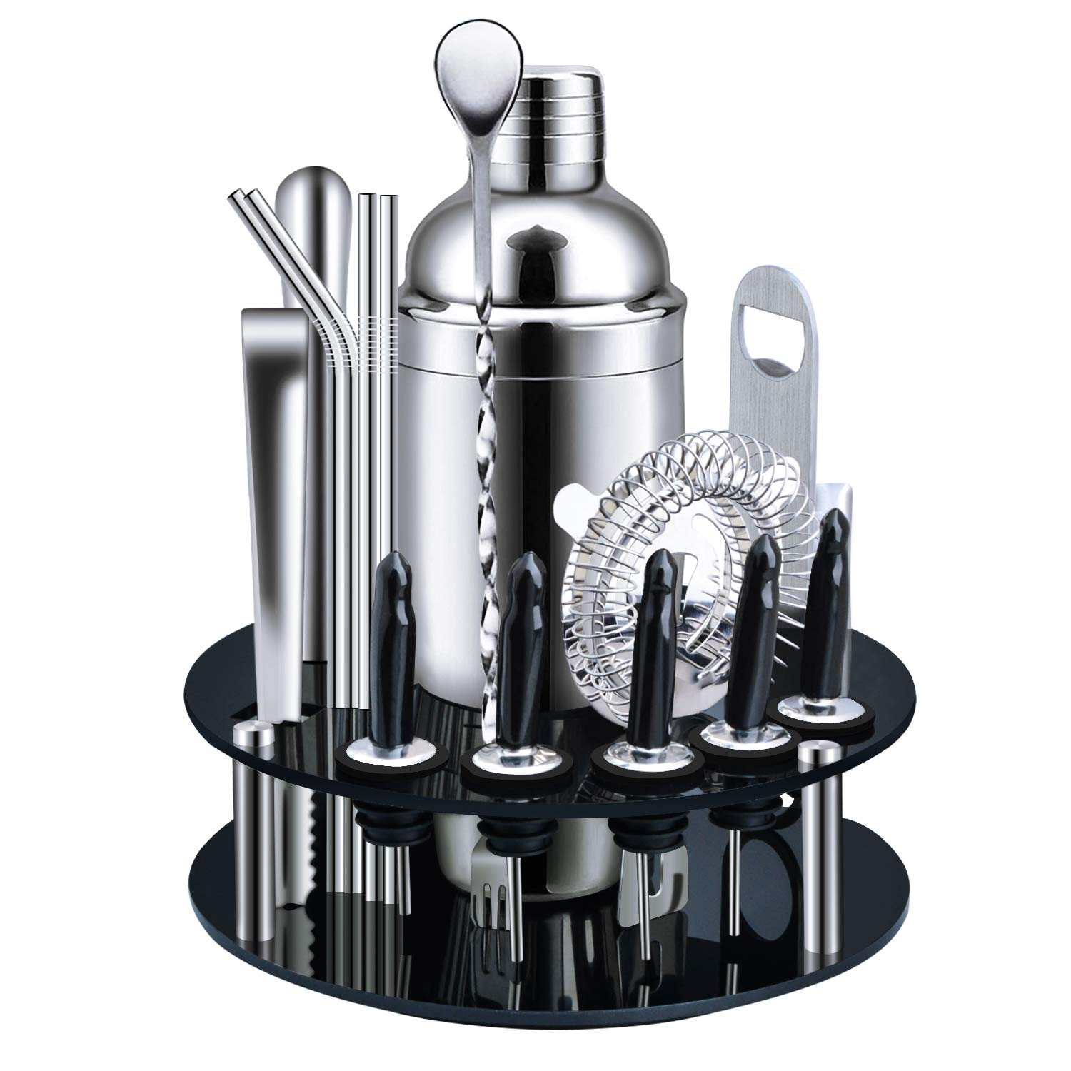 X-cosrack Bar Set,18-Piece Stainless Steel Cocktail Shaker Bar Tools,with Rotating Display Stand and Recipes Booklet,Premium Bartending Kit for Home,Bars,Traveling and Outdoor Parties by X-cosrack