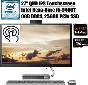 """Lenovo Ideacentre A540 2020 Premium All in One Desktop Computer I 27"""" QHD IPS Touchscreen I Intel Hexa-Core i5-9400T (>i7-7700HQ)I 8GB DDR4 256GB PCIe SSD I WiFi Win 10 + Delca 16GB Micro SD Card"""