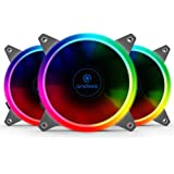 Anidees AI Aureola 120 mm RGB Fan for Case Fan, CPU Cooler Fan, Water Cooling Fan, 3 pack set with Remote controller - RGB (AI-Aureola)