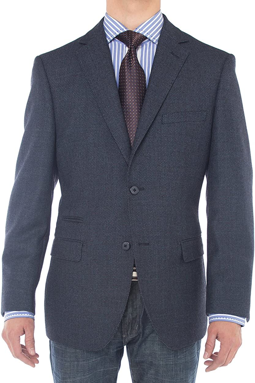 Luciano Natazzi Mens Two Button 160'S Wool Blazer Working Buttonholes Jacket