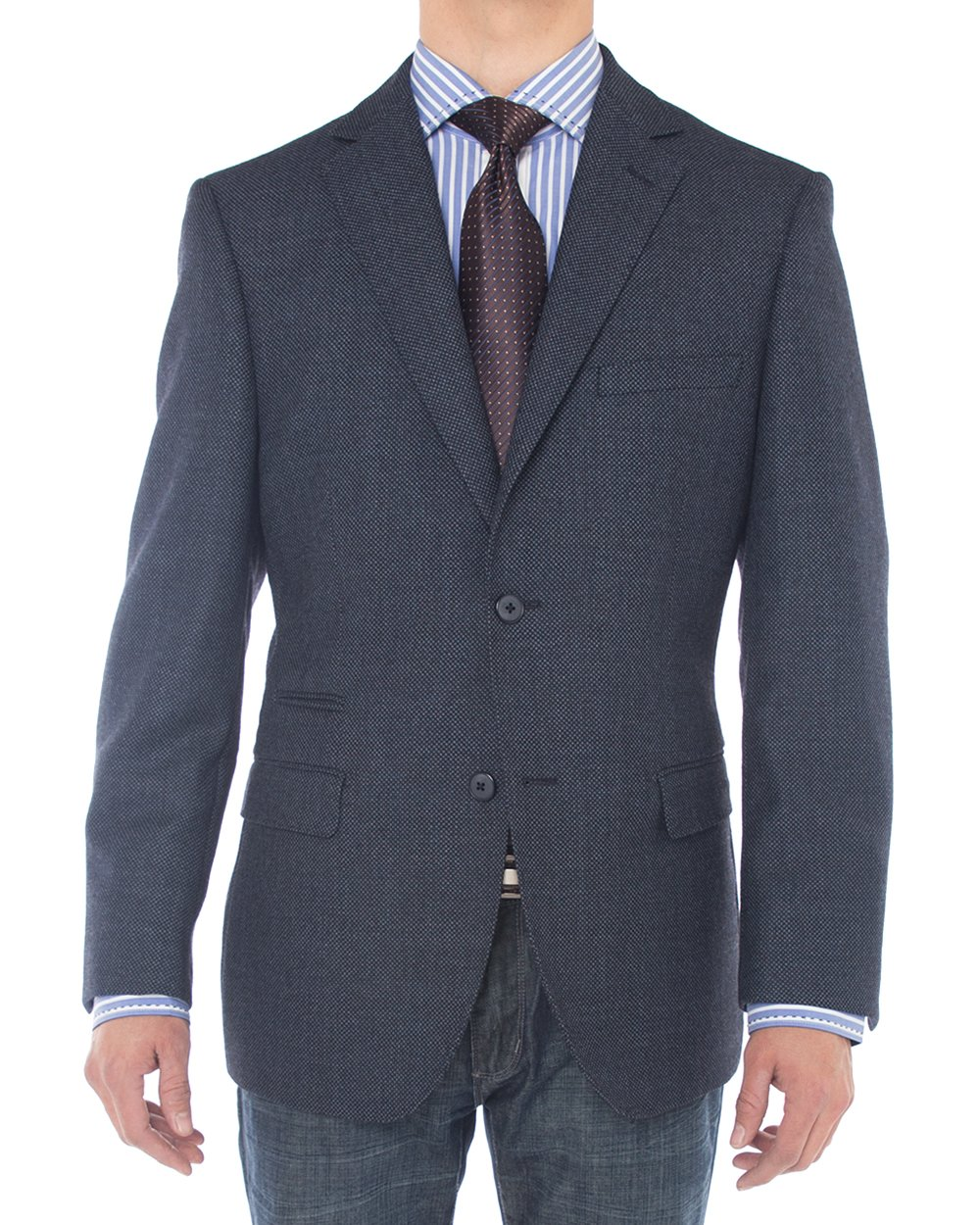 Luciano Natazzi Mens 2 Button 160'S Wool Blazer Working Button Holes Suit Jacket (48 Long US / 58 Long EU, French Blue)