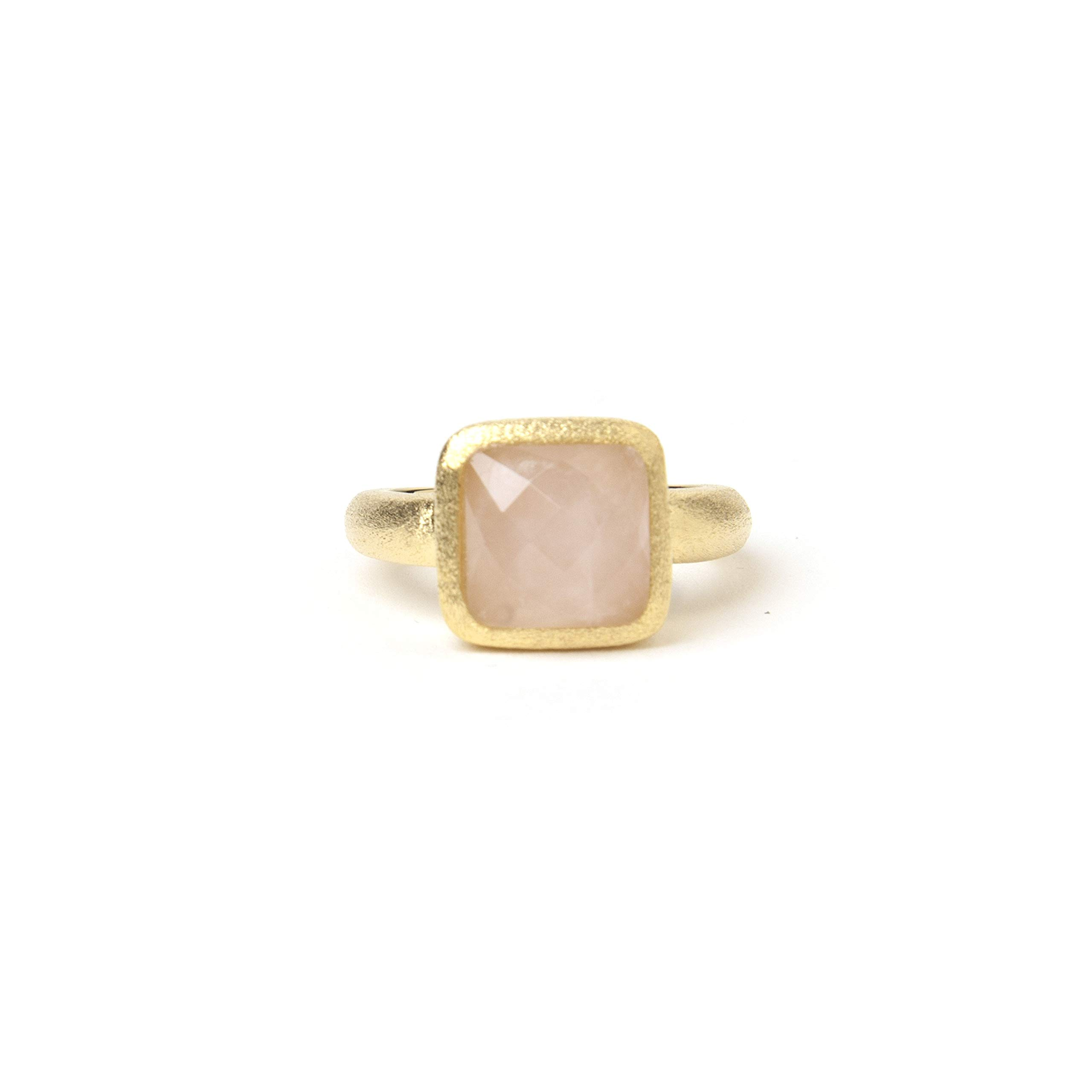 Rivka Friedman 18K Gold Clad Rose Quartz Square Satin Stack Ring by Rivka Friedman