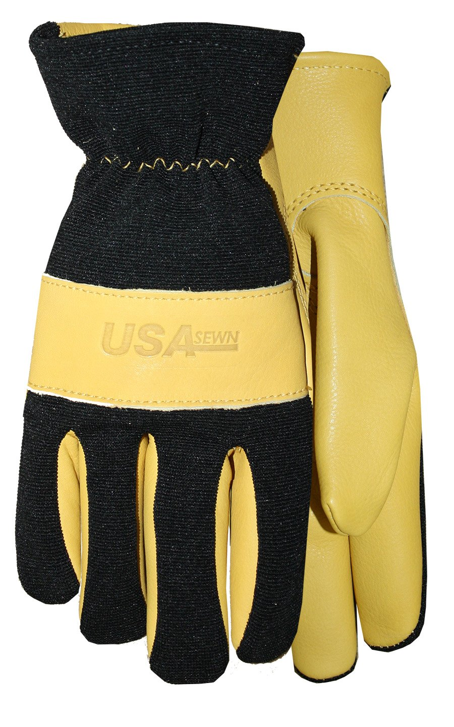 Midwest Gloves & Gear 177-XL-AZ-6 USA Leather Glove, Extra Large, Black Spandex with Gold Leather