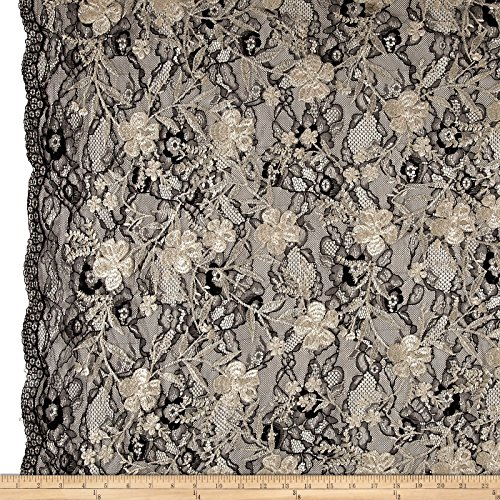 TELIO Elise Embroidered Chantilly Lace Mushroom Fabric by The Yard