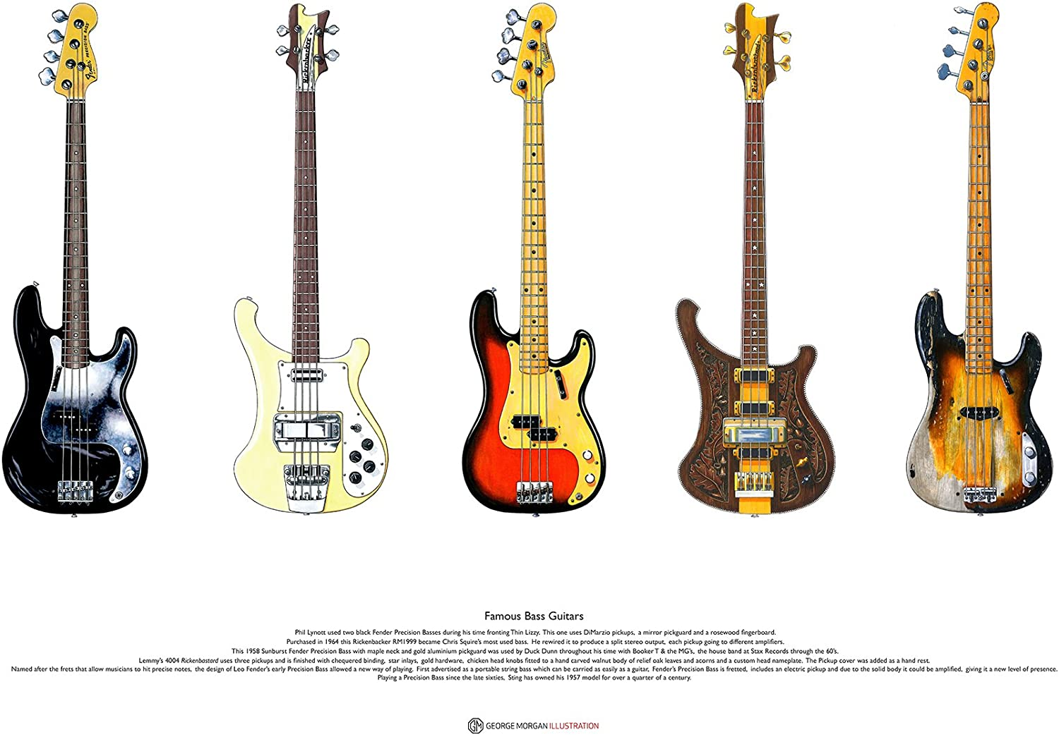 George Morgan Illustration Guitarras Bajas Famosas # 2 AFFICHE D ...