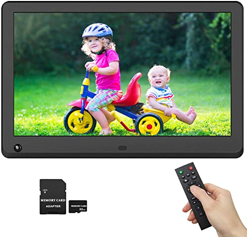 Digital Picture Frame 12 Inch IPS Screen 1920×1080 16 9 Photo Auto Rotate, Motion Sensor Detection, 1080P Video Frame, Auto Turn On Off, Auto Play, Background Music, Include 32GB SD Card