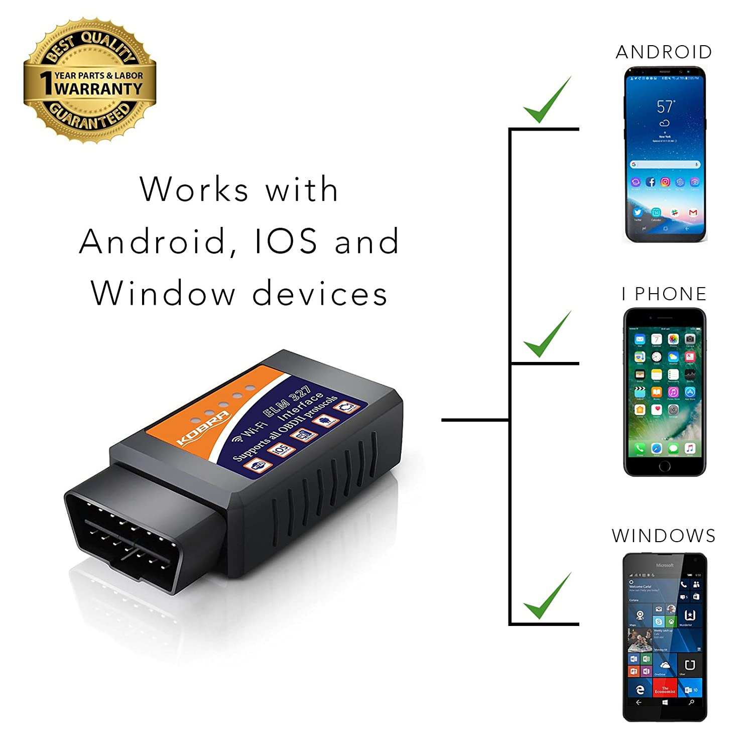 OBD2 Scanner & WiFi Car Code Reader – Clears Check Engine Lights Instantly  – Diagnose 3000 Car Codes - Wireless Car Diagnostic Scanner – Auto Scanner