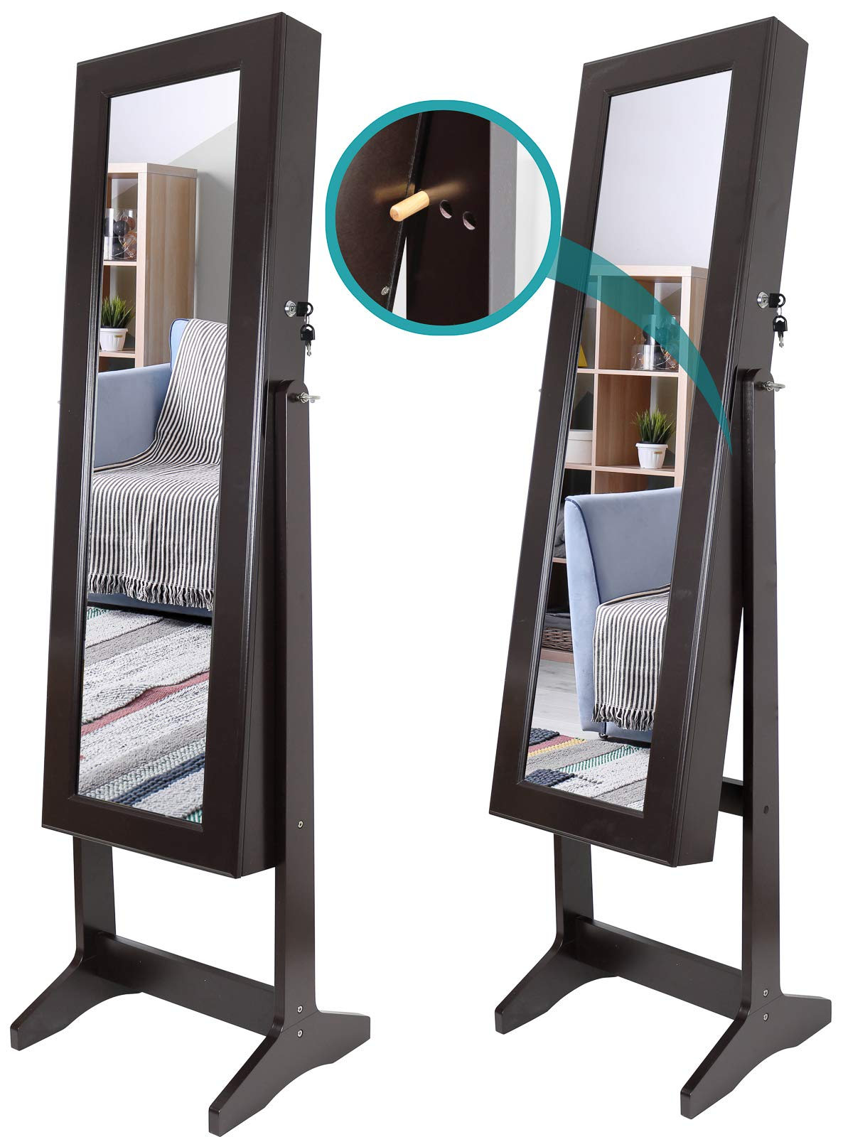 Greenco Free Standing Jewelry Organizer Armoire with Large Mirror and Led Lights, Lockable, Espresso