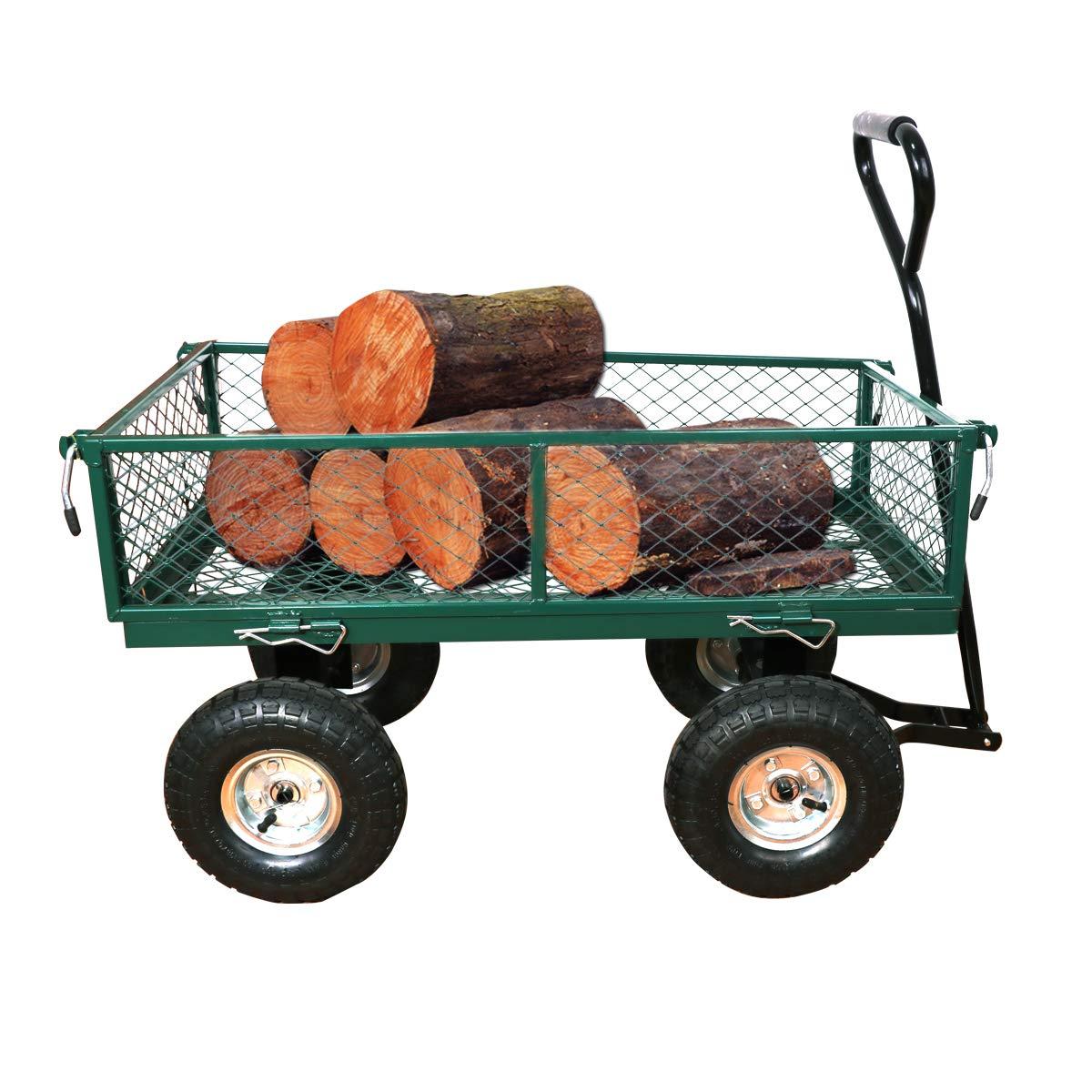 Yardeen Heavy Duty Garden Wagon Cart Steel Wheelbarrow Trailer Outdoor Yard Large Trolley Load Capacity 400LB Color Green by Yardeen