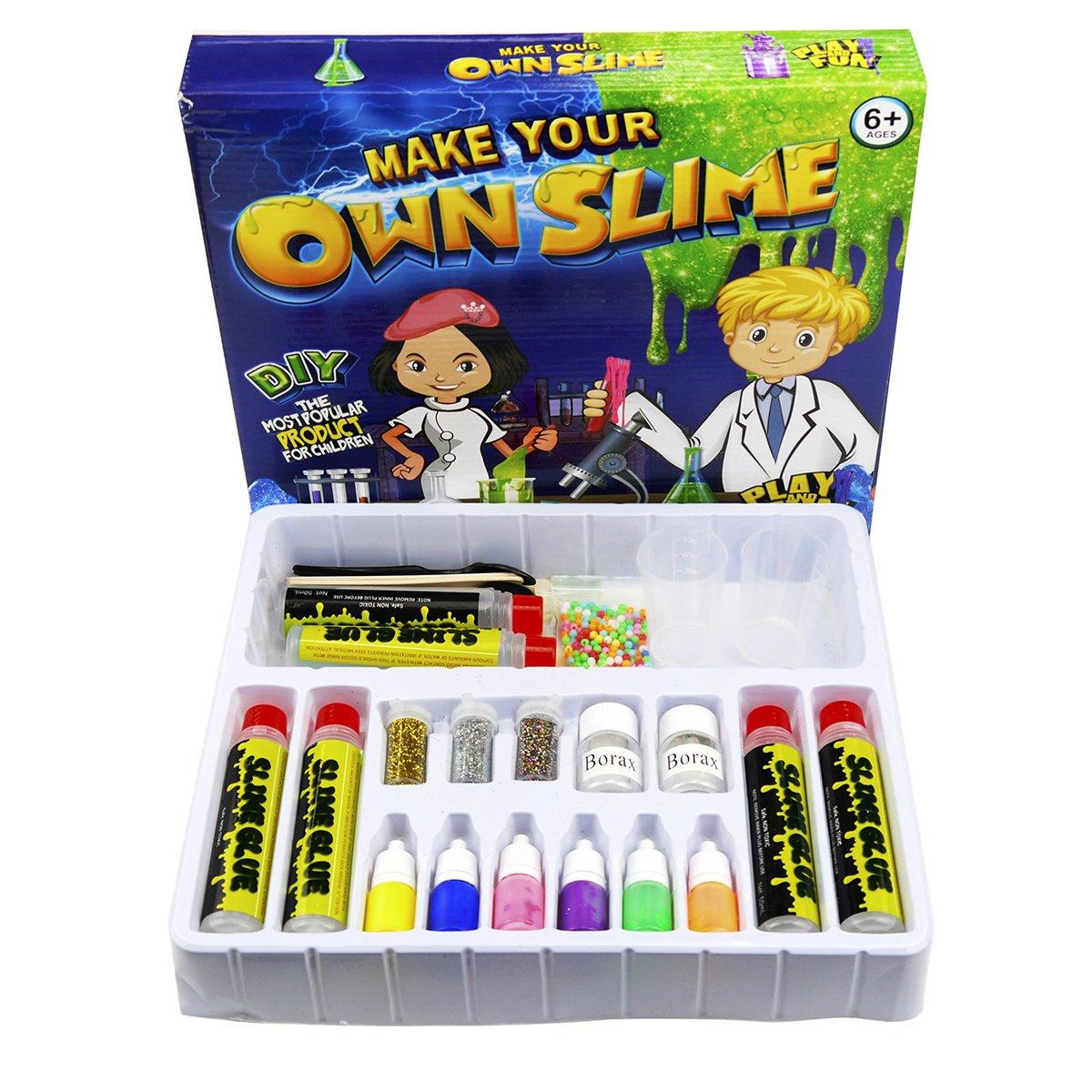 ooey gooey Slime Kit - Slime Making Supplies - DIY Slime Kit for Kids - Make Clear Slime, Glitter Slime, Glow in the Dark Slime, Neon colors - Fun Chemistry Science Lab for Both Boys and Girls by ooey gooey
