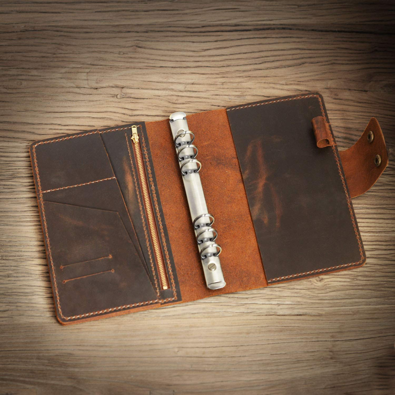 Personalized Size A5 Leather Refillable binder Vintage Leather Organizer Planner travelers Journal sketchbook 706