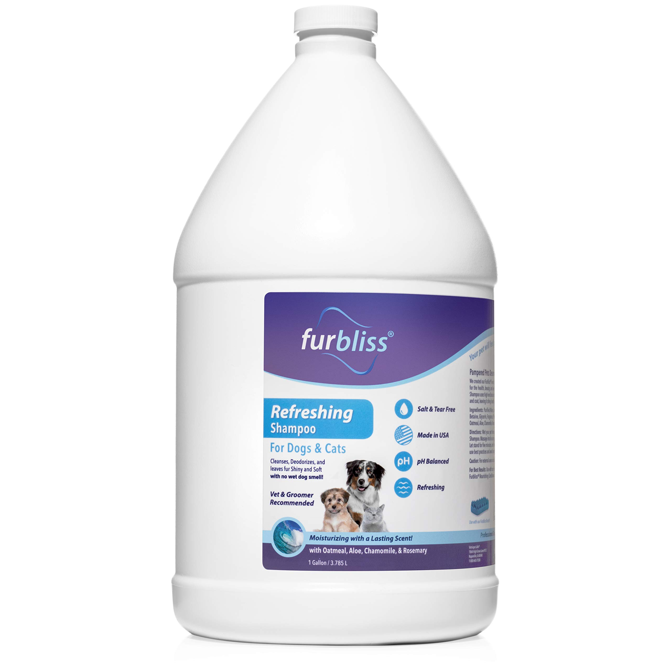 Furbliss Refreshing Dog & Cat Pet Shampoo with Essential Oils - No Wet Dog Smell, Tear Free, Smelly Dog Relief (Gallon)