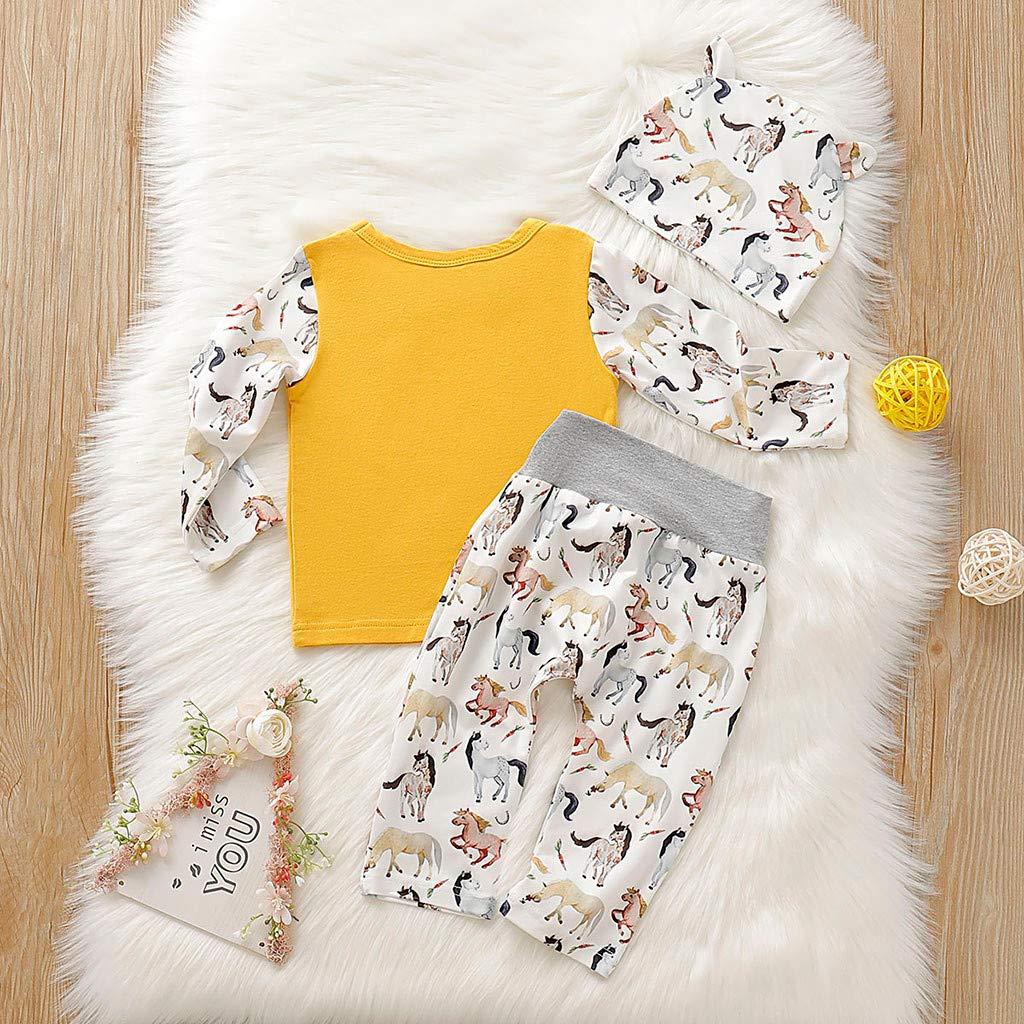 Pants Tomppy Newborn Baby Boy Girls Clothes 3Pcs Set Tassel Cartoon Horse Print T-Shirt Tops Caps Infant Costume Outfits