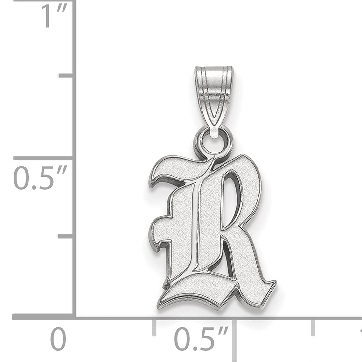 925 Sterling Silver Rhodium-plated Laser-cut Rice University Small Pendant