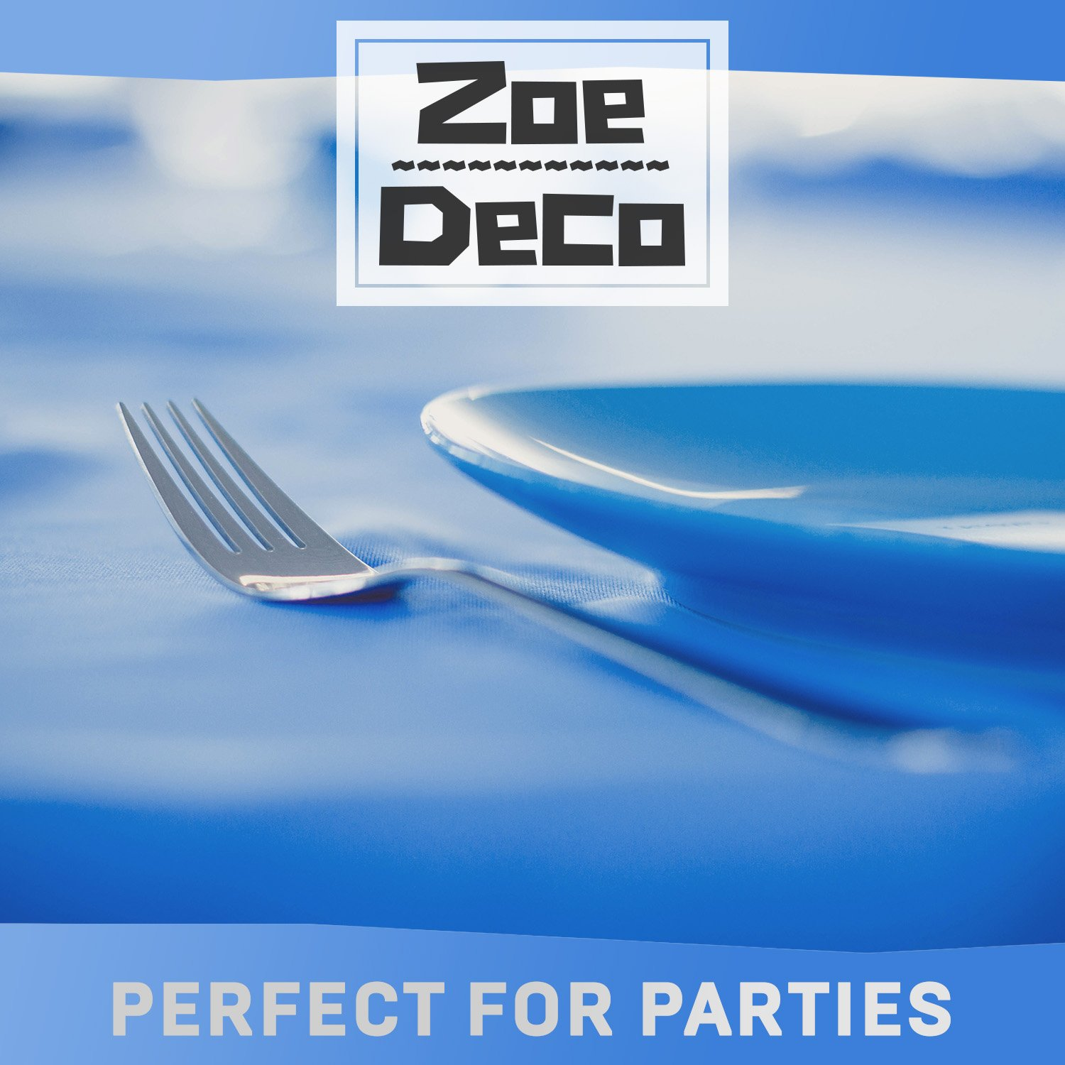 Zoe Deco Plastic Tablecloth, 54'' x 108'' Blue Tablecloth - 12 Pack - Rectangle Tablecloth for Parties, Graduations, and Picnics by Zoe Deco (Image #8)