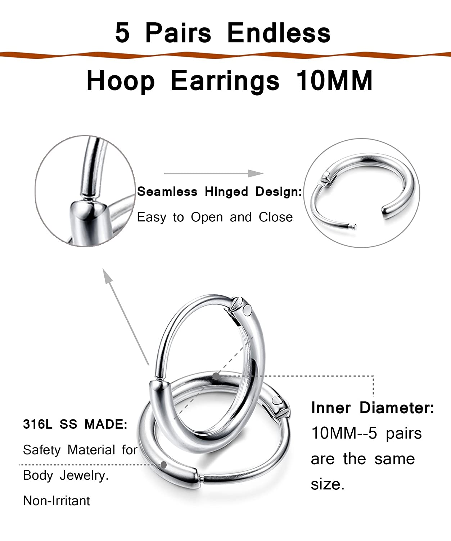 Amazoncom Thunaraz 5 Pairs Stainless Steel Endless Hoop Earrings