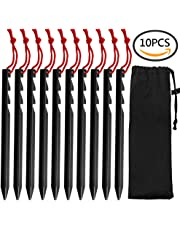 GiBot Camping Tent Pegs Stakes, Set of 10 Ultralight Heavy Duty Aluminum Alloy Tent Stakes Pegs Nails