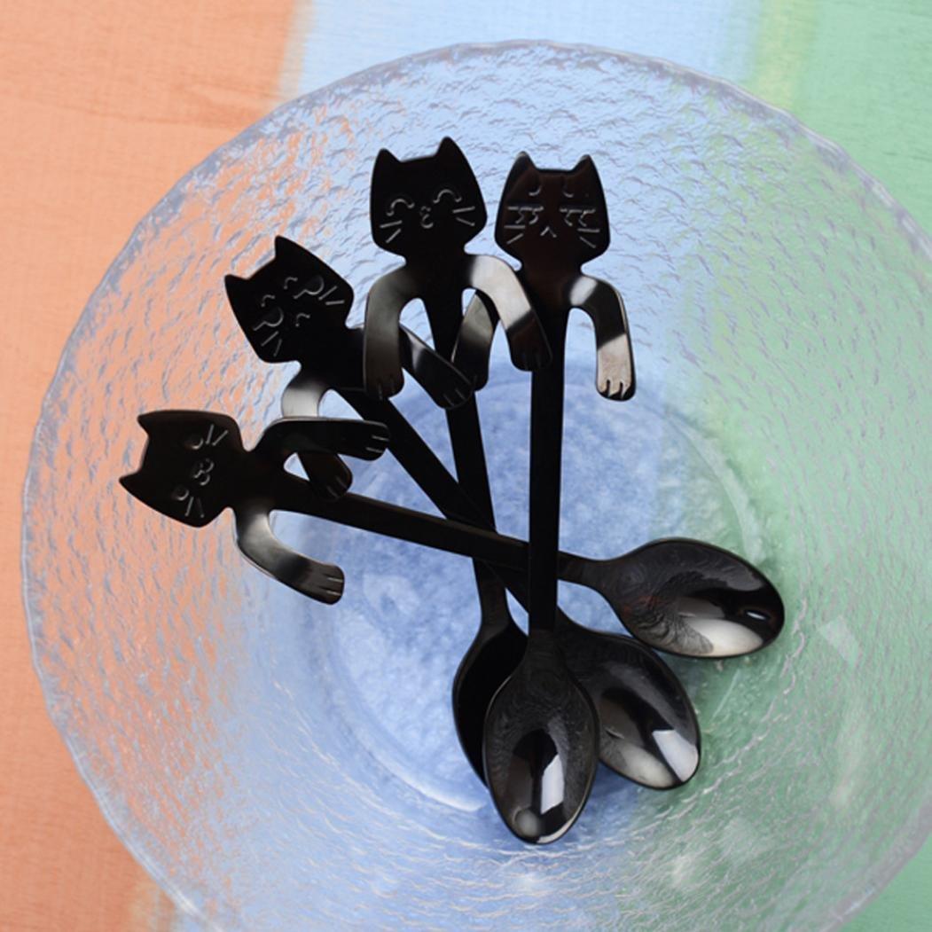 Presupuesto Cuchara Set, jaminy 4 unidades nette gato (Mango Largo Cuchara Cubiertos Café Beber Cocina Herramientas (Negro): Amazon.es: Hogar