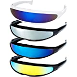 4 Pairs Futuristic Narrow Cyclops Sunglasses Robot Space Costume Color Mirrored Lens