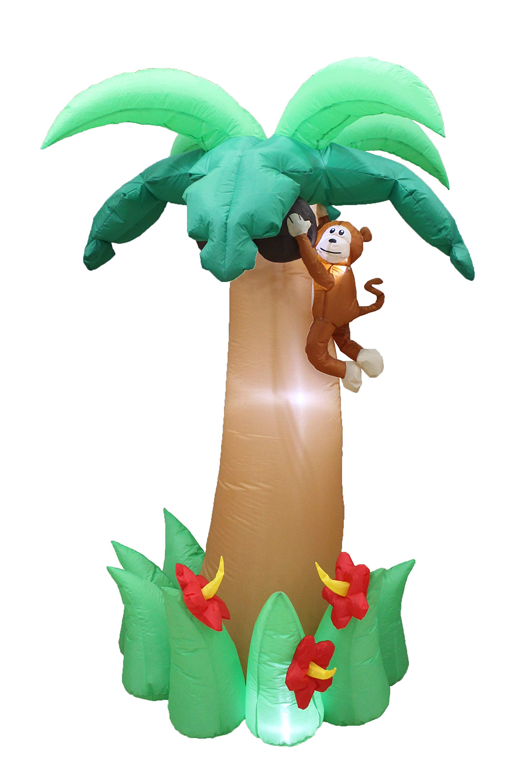 BZB Goods 6 Foot Tall Jumbo Summer Party Inflatable Palm Tree with Monkey Coconut and Flower Yard Blow Up Decoration