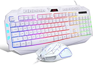 White Gaming Keyboard and Mouse Combo,MageGee GK710 Wired Backlit Keyboard and White Gaming Mouse Combo,PC Keyboard and Adjustable DPI Mouse for PC/loptop/MAC …