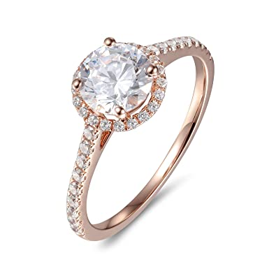 c5da76a5c2fc5 Lamrowfay 1ct Round Brilliant Cut Solitaire Cubic Zircon CZ Engagement Ring  in 14K Gold, 1.80cttw