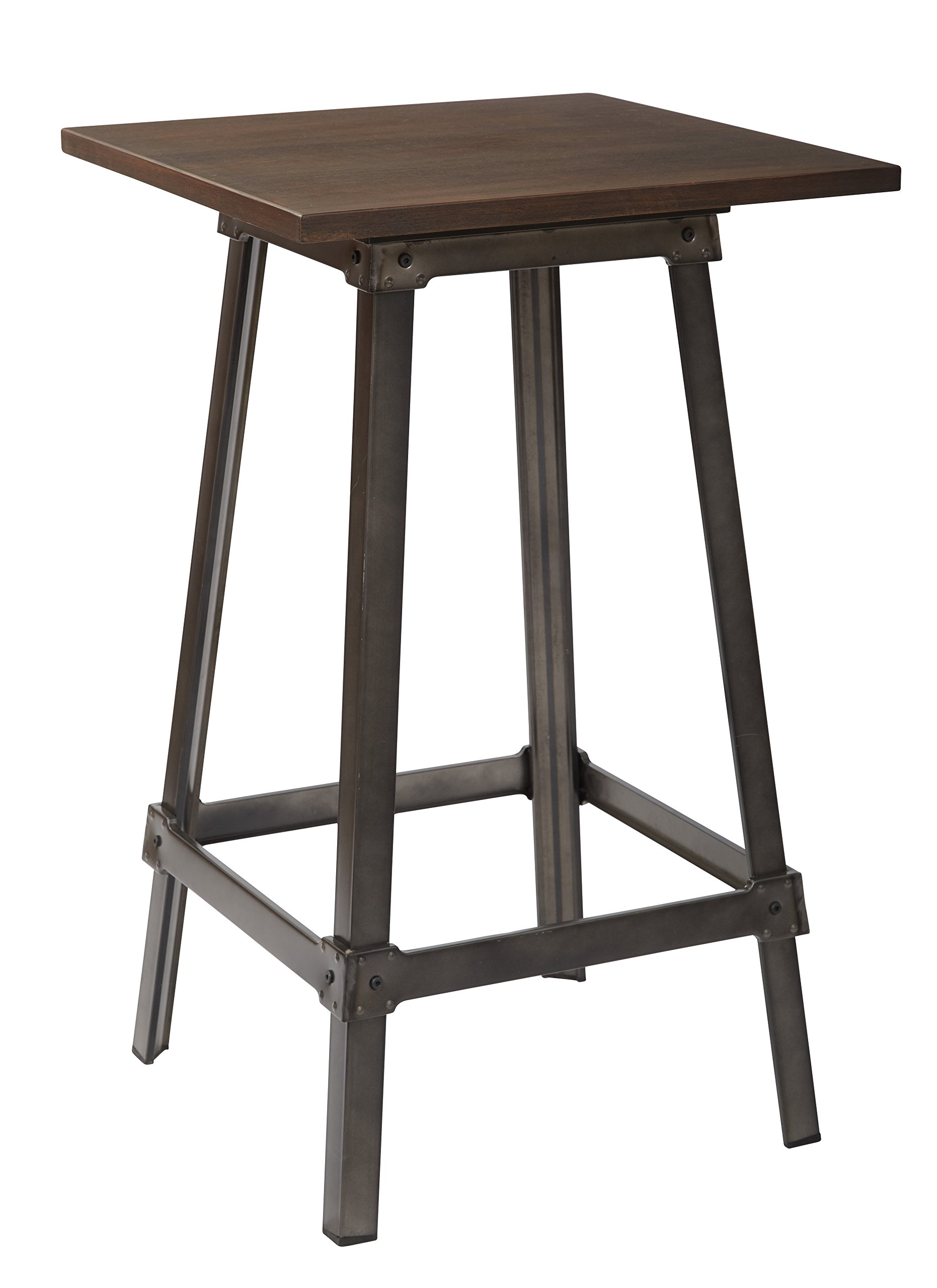 Office Star Indio Matte Gunmetal Metal Frame Pub Table with Vintage Ash Walnut Wood Table Top