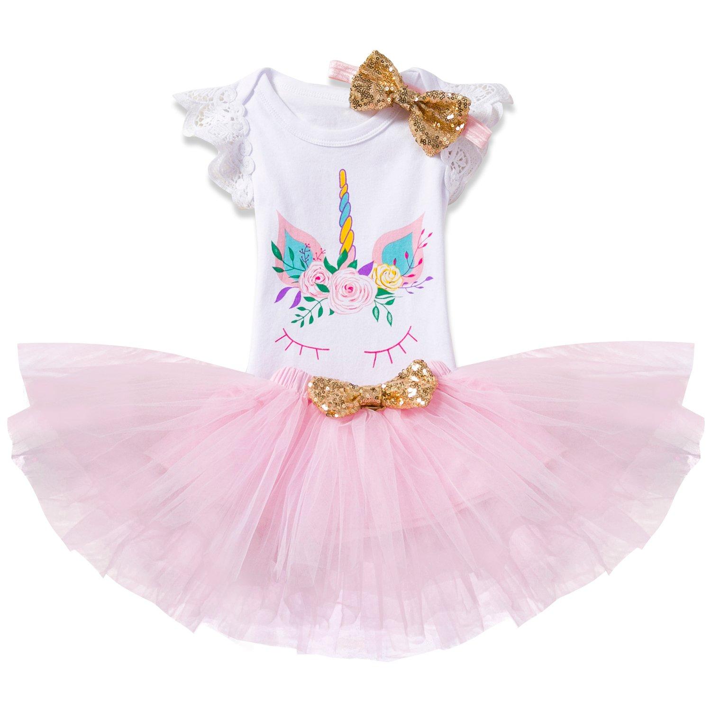 NNJXD Girl Flowers Unicorn Tutu 1st ONE Birthday 3 Pcs Outfits Romper+Skirt+ Gold Headband Size (1) 1 Year Pink