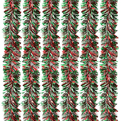 6-Pack Christmas Tinsel Garland Hanging Decoration 55 x 112in (Large Image)
