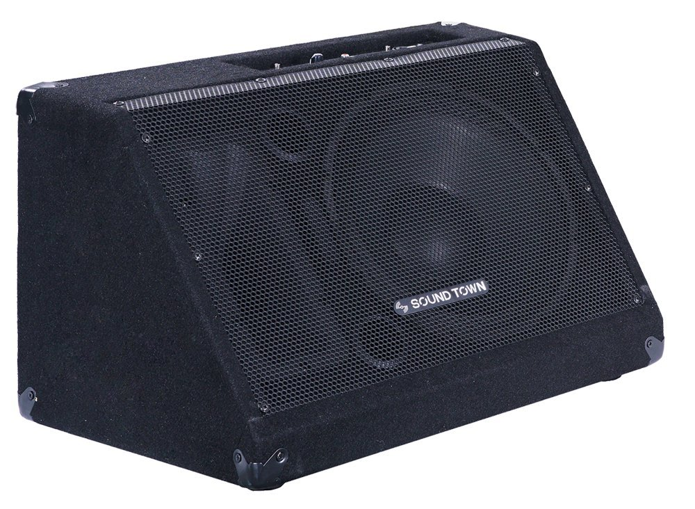 Sound Town Powered DJ PA Stage Monitor Speaker METIS-12MPW 12'' 500W with Compression Driver for Live Sound, Bar, Church by Sound Town