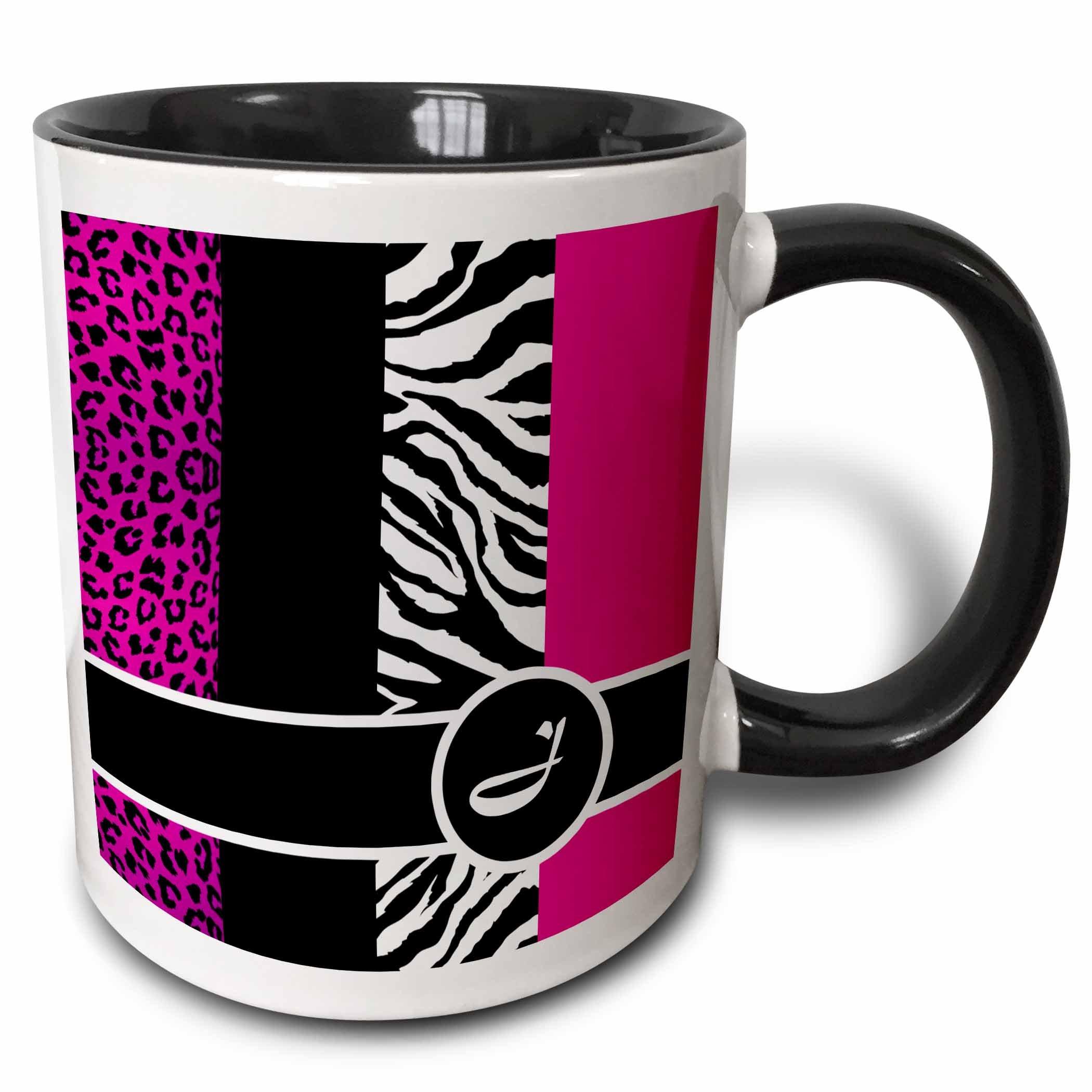 3dRose mug_35619_4''Elegant Animal Print Monogram - Hot Pink J'' Two Tone Black Mug, 11 oz, Multicolor