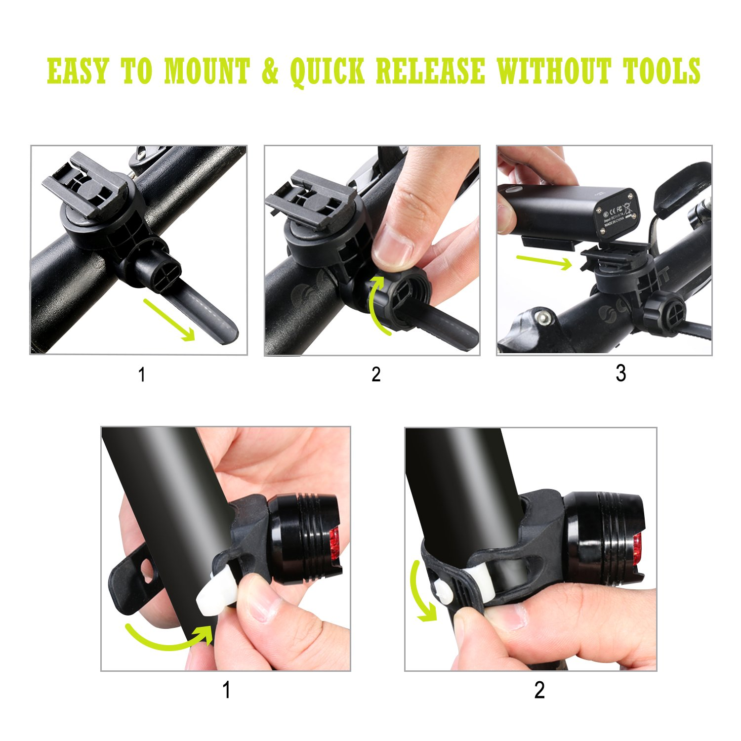 Cycloving Super Bright LED Bike Lights Cycling Water Resistant Bicycle Headlight and Tail Light