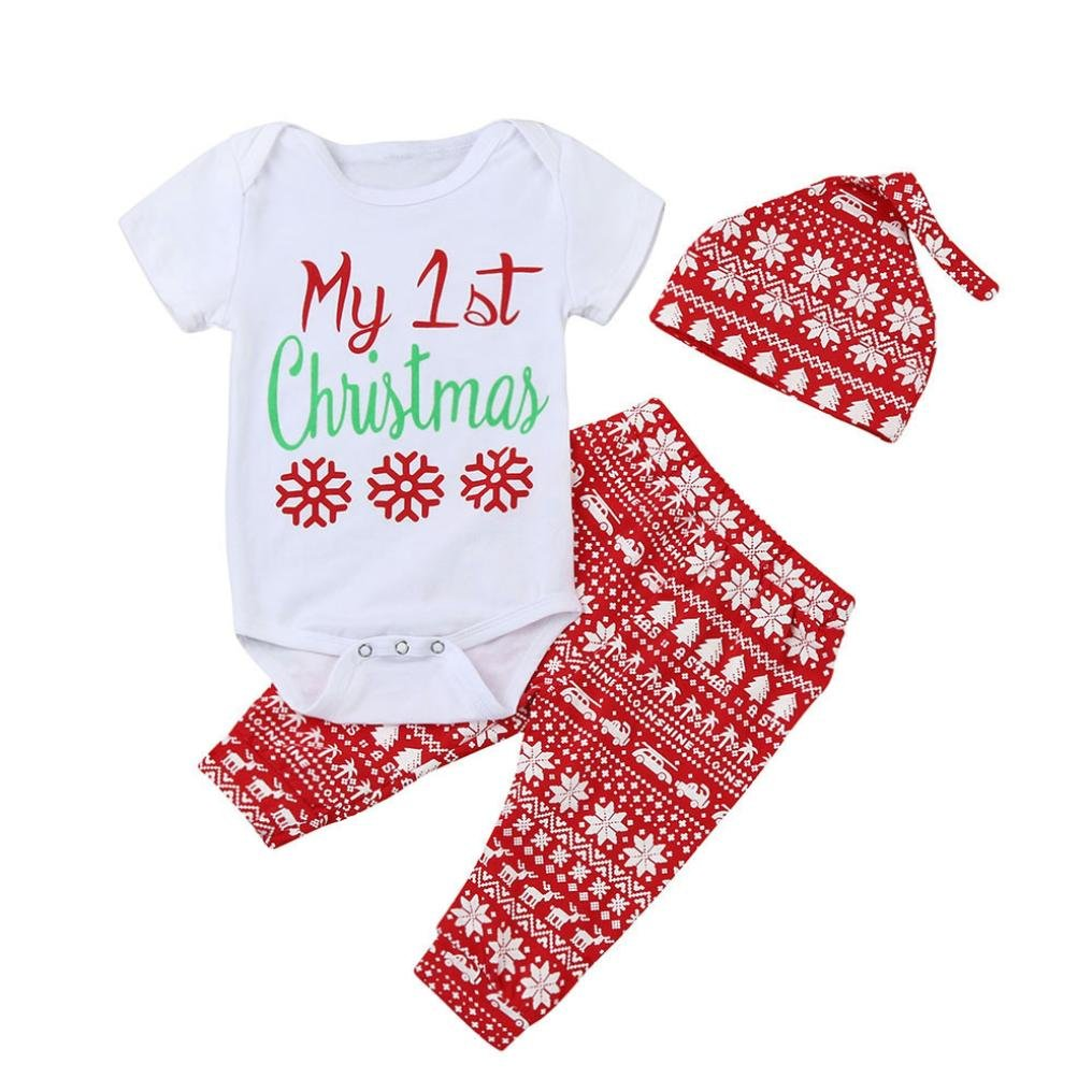 For 0-18 Months Kids ! sunnymi® 3Pcs Fashion Cute Newborn Infant Toddler Baby Girl Boy Short Sleeve Romper Tops+Pants+Hat Christmas Outfit Clothes Set