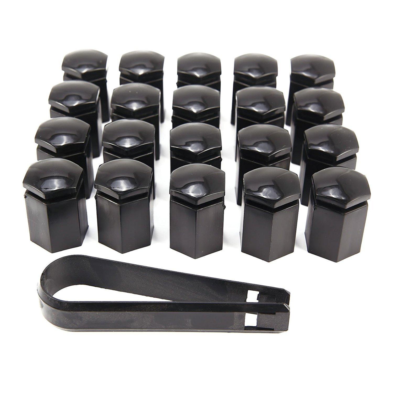 2 muchkey 20 x 17-mm-Radschrauben Mutter Kappen Kunststoff Sechskant Protectors schwarz MyHung