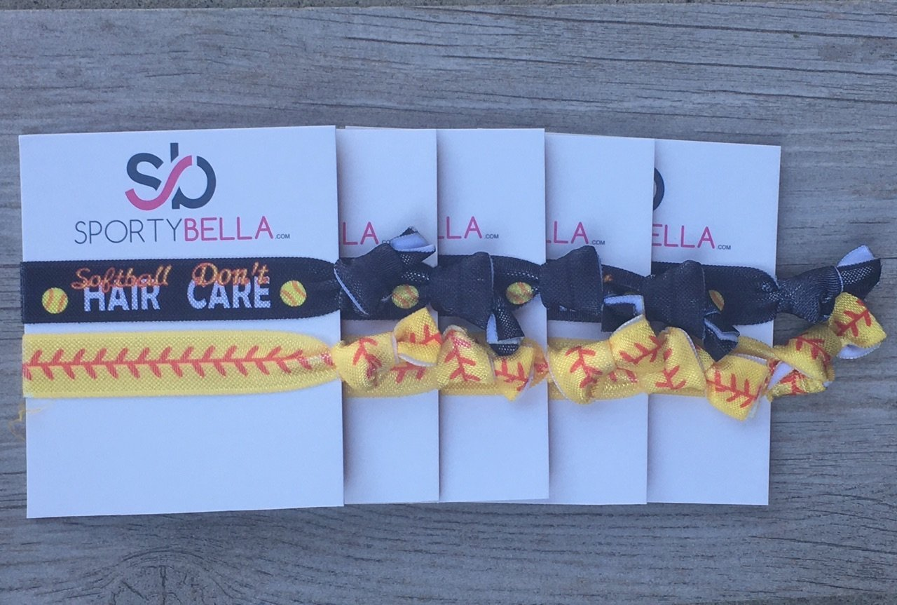 Softball Hair Accessories, Set of 5 Girls Softball Hair Don't Care Hair Ties, Softball Team Gifts, Exchange Gifts or Softball Party Favors