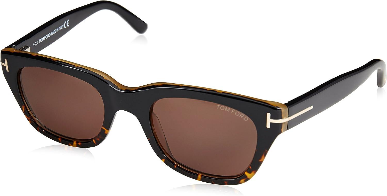 Tom Ford Rectangular Sunglasses TF237 Snowdon 52N Dark Havana 50mm FT0237
