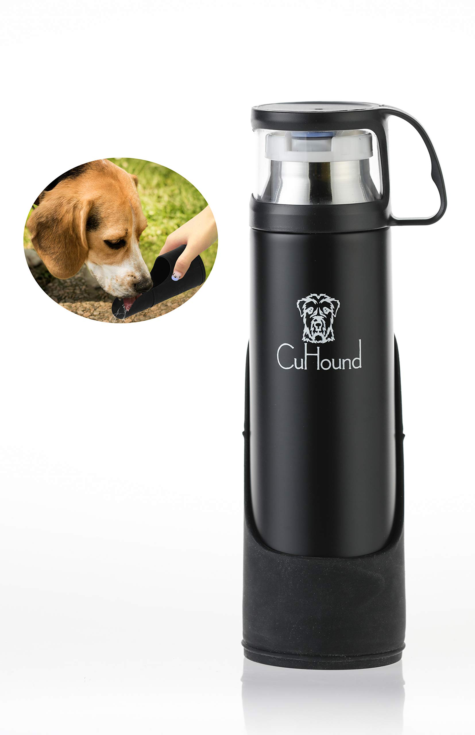 CuHound Portable Vacuum Insulated Dog Water Bottle-Stainless Steel, No Spill dispenser For Large and Small dogs, For Travel, Walking and Harness Drinking, Collapsible cup With Extra cup, Silicon 500ml